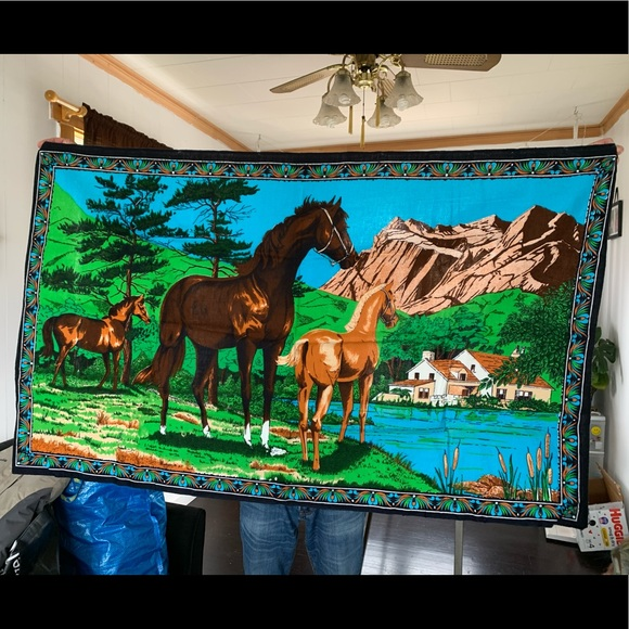 Vintage Velvet Horse Tapestry Wall Hanging